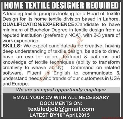 home textile designer jobs in mumbai home textile designer required dawn jobs ads 29 march