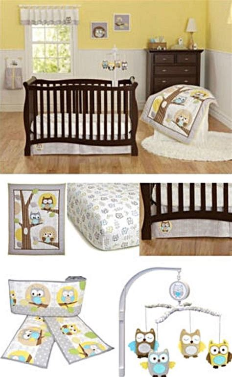 Owl Baby Crib Set Yellow Gray Owl Neutral Baby Boy Nursery 8pc Crib Bedding Bumpers Mobile Baby Boy