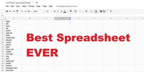 Brewing Spreadsheet by Spreadsheet Secret Creates The Best