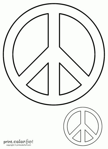 peace sign coloring page print color fun