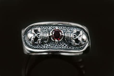 two skulls cz sterling silver ring mr 018