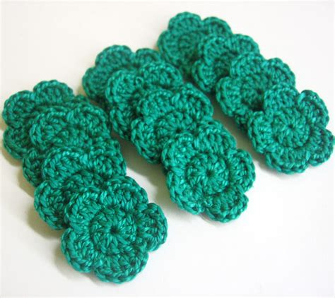 2 color to relax beautiful crochet masterpieces 30 images single sided volume 2 books jade green crocheted tiny flower appliques 1 inch wide 12