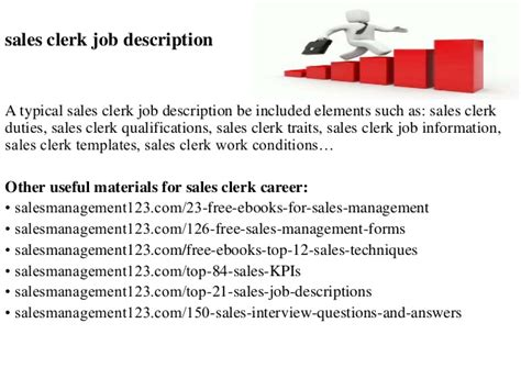 Job Responsibilities Resume by Sales Clerk Job Description