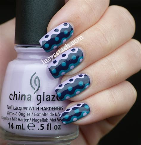 tutorial nail art opi retro waves dots manicure with tutorial featuring china