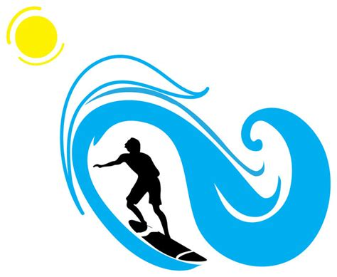 Laundry Wall Stickers surfer and wave silhouette sports beach style wall