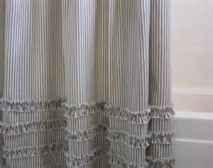 gray and brown shower curtain vintage ticking stripe shower curtain with ruffles 11 color