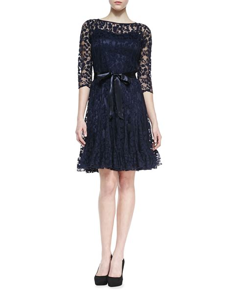 rickie freeman for teri jon 34 sleeve lace overlay gown navy teri jon short sleeve lace a line cocktail dress in blue