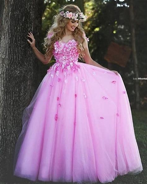 Colourfull Pink Prewedding Gown pink prom dresses gown flower beautiful