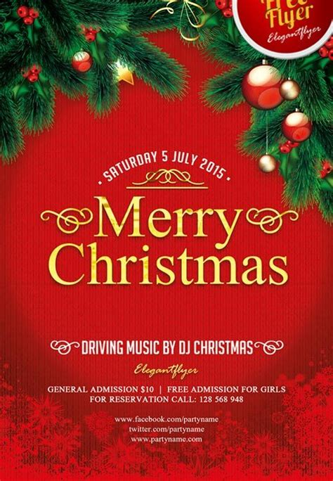Merry Christmas Free Psd Flyer Template Download For Photoshop Merry Flyer Template Free