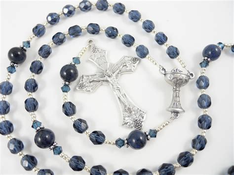 personalized rosary personalized rosary for a boy in navy blue by