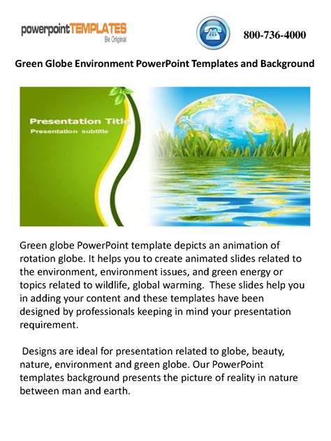 Green Globe Environment Powerpoint Templates And Background Authorstream Environment Powerpoint Template