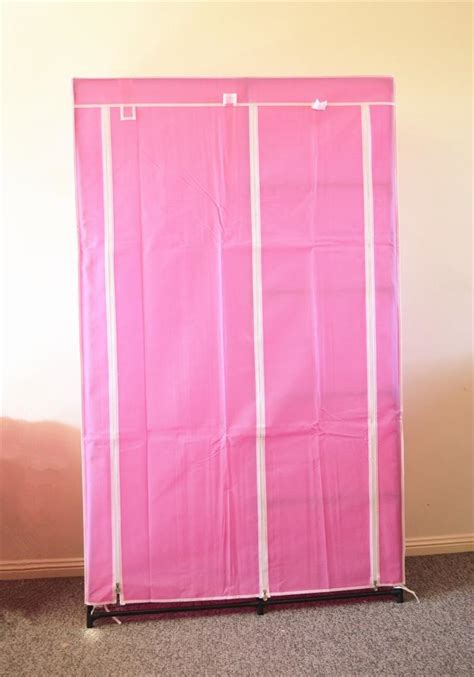 Pink Portable Closet by New Portable Storage Wardrobe Clothes Rack 105cm Pink