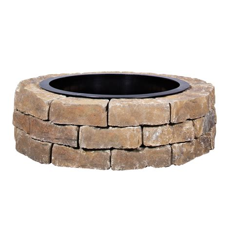 Shop Ashland Flagstone Fire Pit Patio Block Project Kit At Outdoor Firepit Kit