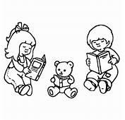 Coloriage Enfants Et Nounours Aux Livres A Imprimer Gratuit