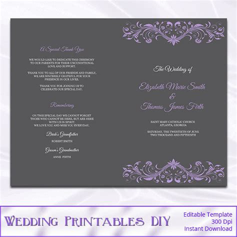 catholic wedding program template purple by