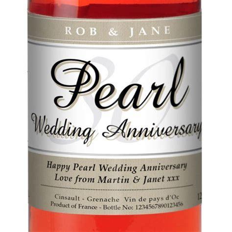 Personalised Pearl Wedding Anniversary Rose Wine   The