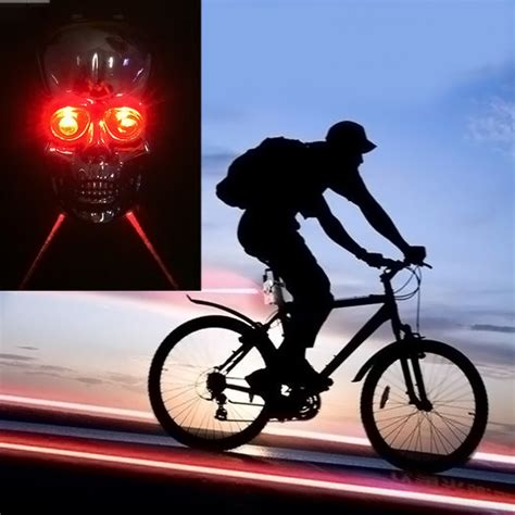 Best Seller Lu Sepeda Safety Led Laser Bicycle L Water Resista skull led laser cycling mountain road bike bicycle taillight safety warning 163 3 66