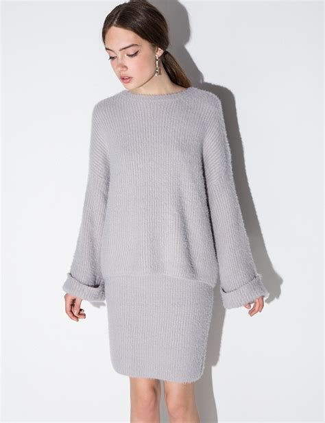 grey sweater dress two set knit sweater skirt