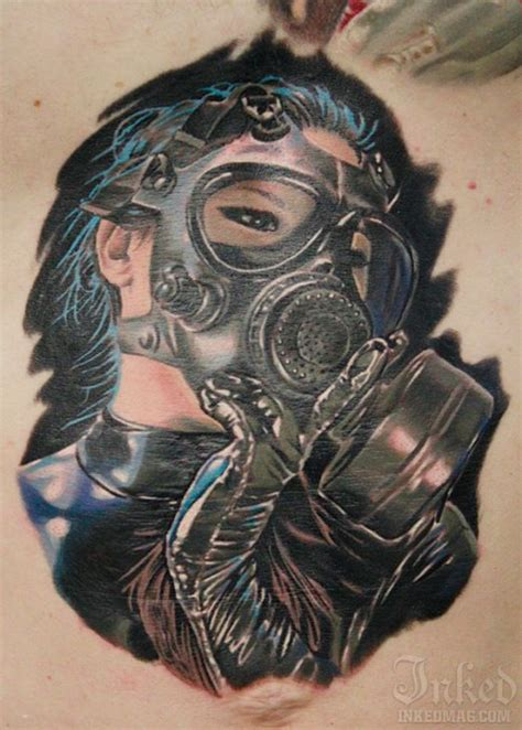 Tattoo Nightmares Gas Mask | blue haired gas mask girl by casey anderson tattoos