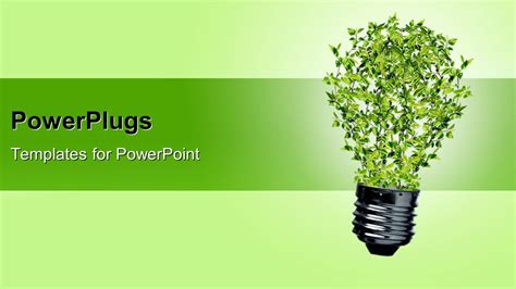 powerpoint templates free philosophy powerpoint template green bulb with leaves as a symbol of