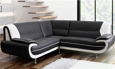 White Leather Sofas Uk Billsley Leather Corner Sofa Black And White High