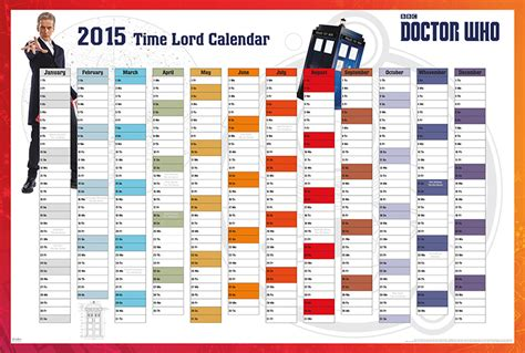 Doctor Who Desk Calendar by Doctor Who Tv Show Poster Print The 2015 Time Lord