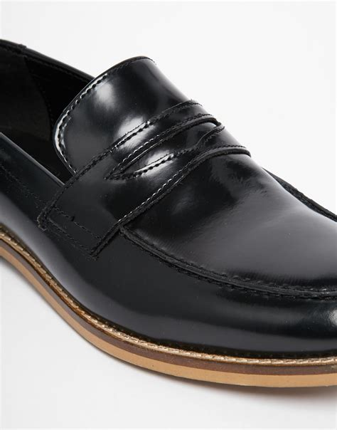 asos mens loafers asos loafers in leather in black for lyst