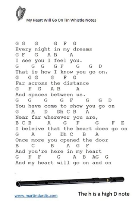 where do sts go on a letter my heart will go on tin whistle letter notes music irish