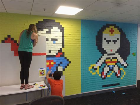 The Office Mural by Worker Uses 8 024 Post It Notes To Turn Boring Office