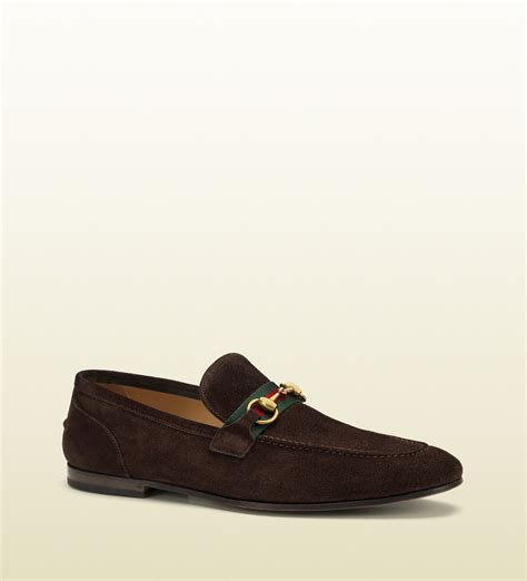 gucci pebbled leather horsebit loafer gucci suede horsebit loafer in brown for lyst