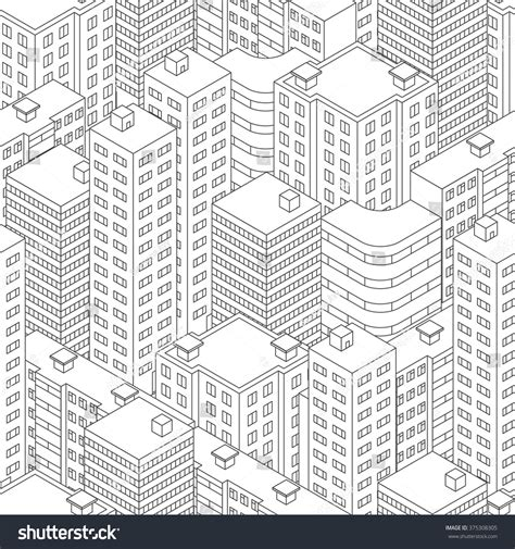 stock pattern viewer town isometric view seamless pattern houses stock vector