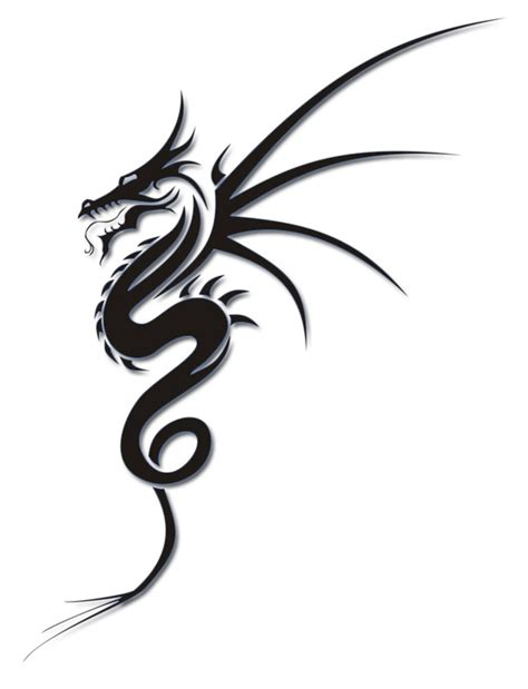 black tribal dragon tattoo designs simple black ink design
