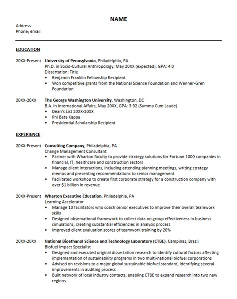 Resume Format For Phd Admission Academic Resume Phd Application