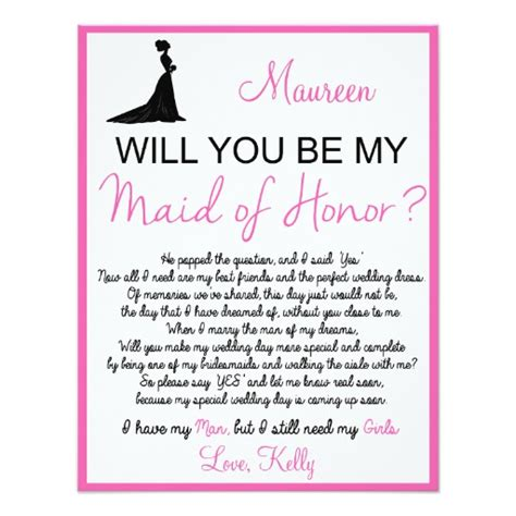 will you be my maid of honor card 4 25 quot x 5 5 quot invitation