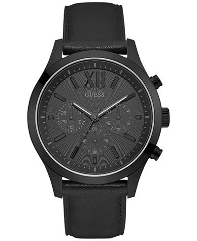 Guess Chrono Polos Leather guess s chronograph black leather 46mm
