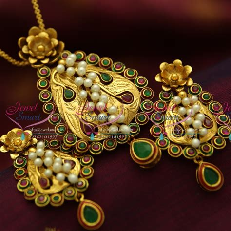 Handmade Gold Jewellery - ps1825 exclusive antique kempu ruby emerald gold design