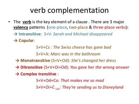 complementation patterns english verbs unit 1 introductory categories and concepts 1