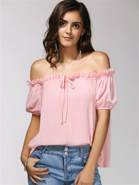 Best Seller Lace Back Tank Top Blouse Pink Tmc light pink s charming the shoulder puff sleeve bowknot
