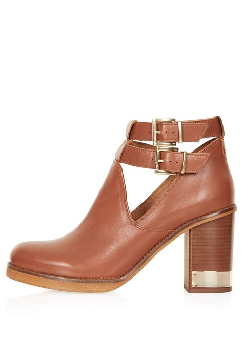topshop all yours harness ankle boots in brown lyst