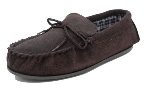 moccasin slippers mens mens mokkers real suede leather moccasin slippers brown