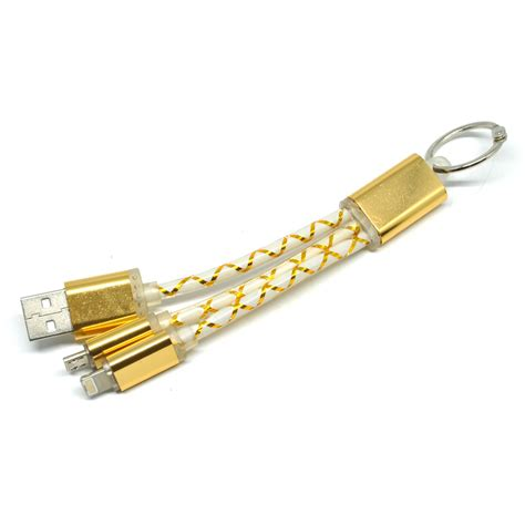 Kabel Fiber Key Ring 2 In 1 Micro Usb Lightning Emas kabel fiber key ring 2 in 1 micro usb lightning golden jakartanotebook
