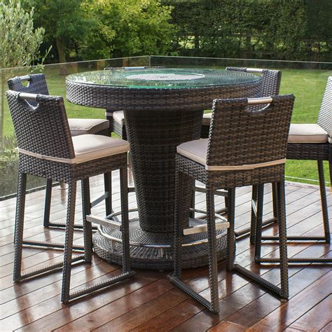Garden Bar Table Lagos Brown Rattan Garden Bar With And 6 Stools