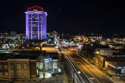 Night Fall On Downtown Montgomery Al Beautiful Vacation Lights Montgomery Al