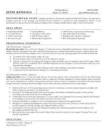 Resume Sles For Retail Sales Position Exle Retail Sales Specialist Resume Free Sle