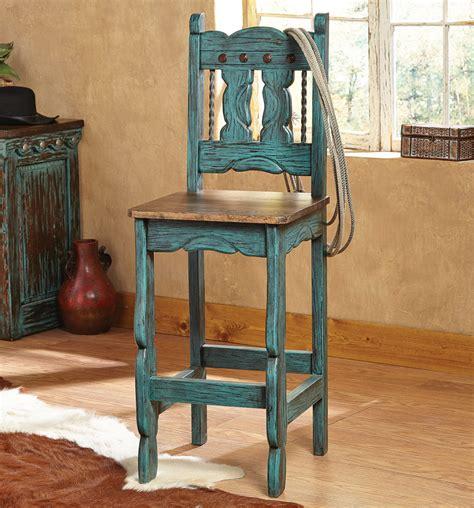 turquoise bar stools rustic turquoise wood bar stool with back decofurnish