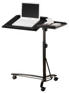 Laptop Desk Stand Small Smart Adjustable Height Swivel Top Black Computer Desk Mobile Laptop Stand Contemporary