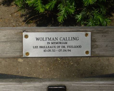 Memorial Bench Plaque Dr Feelgood Announcements News And Gossip
