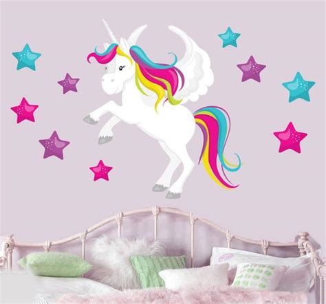 wallpaper dinding unicorn magical unicorn stars mural wall stickers children s