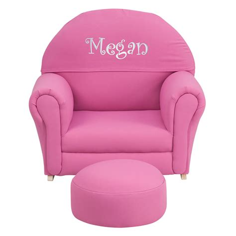 personalized kid chair ottoman personalized pink fabric rocker chair and footrest