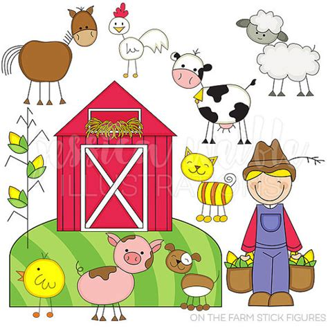 scheune comic on the farm stick figures digital clipart for commercial